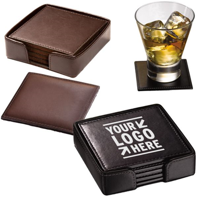 Promotional Square Leather Coaster Set
