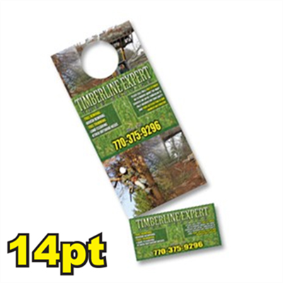 "4 1/4 "" x 11"" 14pt Doorhanger w/ Card Tear Off"